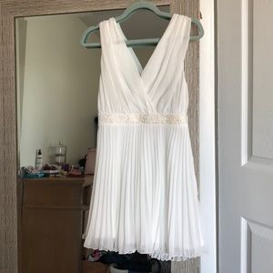ASOS white pleat dress